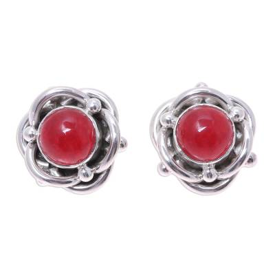 Sterling Silver and Red Jasper Button Earrings from India