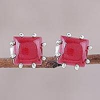 Jasper button earrings, 'Brilliant Red' - Red Jasper and Sterling Silver Button Earrings from India