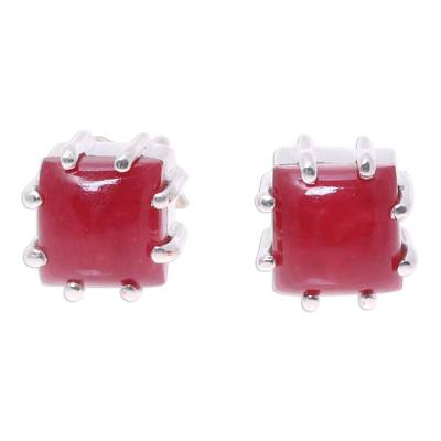 Red Jasper and Sterling Silver Button Earrings from India