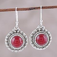 Jasper dangle earrings, 'Red Mystique' - Red Jasper and Sterling Silver Dangle Earrings from India