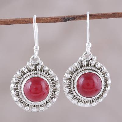 Jasper dangle earrings, 'Red Mystique' - Red Jasper and Sterling Silver Dangle Earrings from India