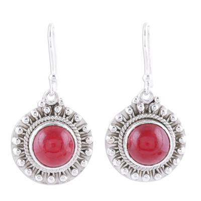 Red Jasper and Sterling Silver Dangle Earrings from India