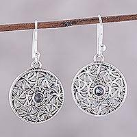 Iolite dangle earrings, 'Circular Stars' - Iolite and Sterling Silver Dangle Earrings from India