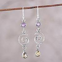 Citrine and amethyst dangle earrings, 'Exciting Shimmer' - Sterling Silver Dangle Earrings with Citrine and Amethyst