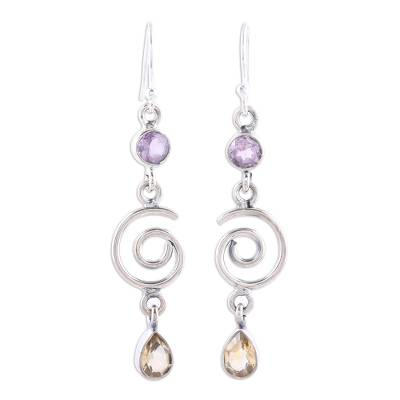 Sterling Silver Dangle Earrings with Citrine and Amethyst