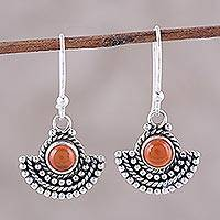 Carnelian dangle earrings, 'Fiery Fans'