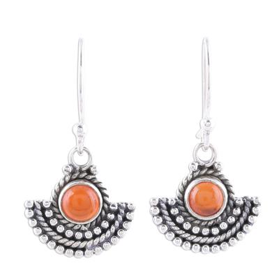Carnelian dangle earrings, 'Fiery Fans' - Carnelian and Sterling Silver Dangle Earrings from India