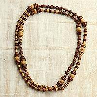 Wood beaded long necklace, 'Discs and Globes' - Natural Haldu Wood Beaded Brown Boho Long Necklace