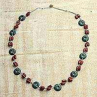 Wood beaded necklace, 'Spherical Dream' - Green and Brown Spherical Haldu Wood Beaded Long Necklace