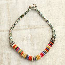 Bone beaded necklace, 'Colorful Blast' - Multi-Colored Buffalo Bone and Cotton Beaded Necklace