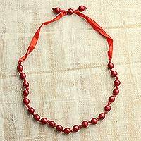 Wood beaded necklace, 'Sunrise Bliss' - Red and Orange Haldu Wood Adjustable Beaded Necklace