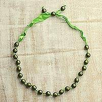 Wood beaded necklace, 'Prairie Bliss' - Green Haldu Wood and Ribbon Adjustable Beaded Necklace