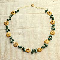Wood beaded necklace, 'River Moss' - Green and Yellow River Moss Haldu Wood Beaded Necklace