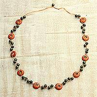 Wood beaded necklace, 'Avocados and Oranges' - Green and Orange Wood Hand Knotted Beaded Long Necklace