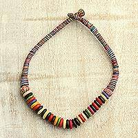 Bone beaded necklace, 'Rainbow Explosion' - Multi-Colored Buffalo Bone and Cotton Beaded Necklace