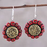 Ceramic dangle earrings, 'Modern Sunflower' - Handcrafted Red and Gold Ceramic Sunflower Dangle Earrings