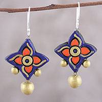 Ceramic dangle earrings, 'Bold Pinwheels' - Handcrafted Purple and Gold Ceramic Pinwheel Dangle Earrings