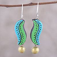 Ceramic dangle earrings, 'Sea Leaves' - Handcrafted Blue and Green Ceramic Leaf Dangle Earrings