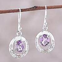 Rhodium plated amethyst dangle earrings, 'Sparkling Reflections' - Rhodium-Plated Sterling Silver and Amethyst Dangle Earrings