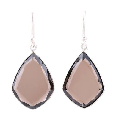 Smoky quartz dangle earrings, 'Faceted Drama' - Smoky Quartz and Sterling Silver Teardrop Dangle Earrings
