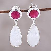 Ruby and rainbow moonstone dangle earrings, 'Sunrise Princess' - Rainbow Moonstone and Ruby Sterling Silver Dangle Earrings