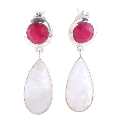 Rainbow Moonstone and Ruby Sterling Silver Dangle Earrings