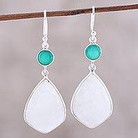 Rainbow moonstone and onyx dangle earrings, 'Misty Glen' - Rainbow Moonstone and Green Onyx Dangle Earrings from India
