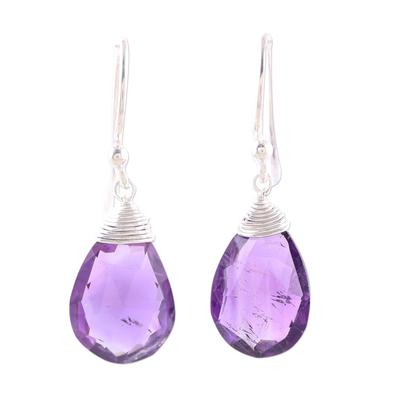 Amethyst dangle earrings, 'Lavender Joy' - Faceted Amethyst Teardrop Sterling Silver Dangle Earrings