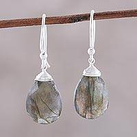 Labradorite dangle earrings, 'Mystical Forest' - Faceted Labradorite Teardrop Sterling Silver Dangle Earrings