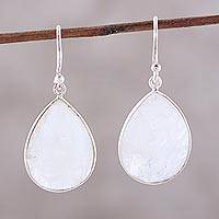 Rainbow moonstone dangle earrings, 'Captured Mist' - Faceted Rainbow Moonstone Sterling Silver Dangle Earrings