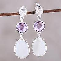 Amethyst dangle earrings, 'Sundown Mist' - Rainbow Moonstone Amethyst Sterling Silver Dangle Earrings
