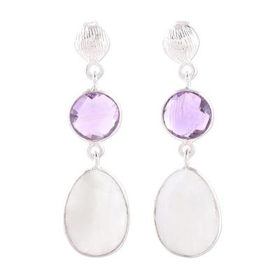 Amethyst dangle earrings, 'Sundown Mist' - Rainbow Moonstone Amethyst Sterling Silver Dangle Earrings