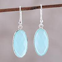 Chalcedony dangle earrings, 'Faceted Sky' - Faceted Chalcedony Oval Sterling Silver Dangle Earrings