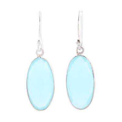 Faceted Chalcedony Oval Sterling Silver Dangle Earrings