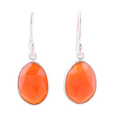 Red-Orange Onyx Dangle Earrings from India