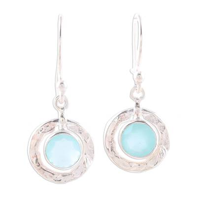 Round Aqua Chalcedony and Sterling Silver Dangle Earrings