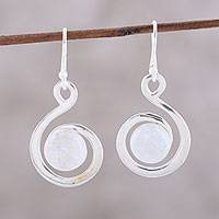 Rainbow moonstone dangle earrings, 'Rainbow Swirl' - Swirl Motif Rainbow Moonstone Dangle Earrings from India