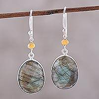 Labradorite and onyx dangle earrings, 'Mystic Pools' - Oval Labradorite and Sterling Silver Dangle Earrings