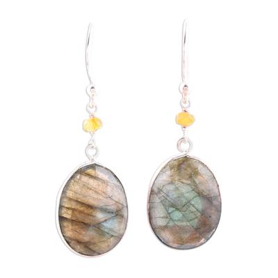 Labradorite and onyx dangle earrings, 'Mystic Pools' - Oval Labradorite and Sterling Silver Dangle Earrings