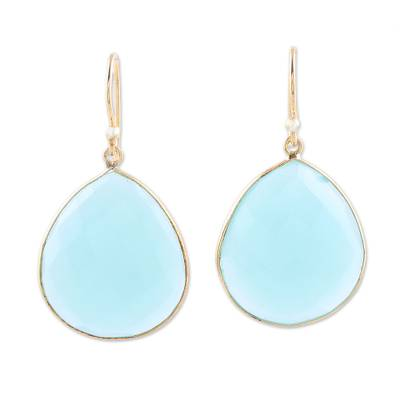 Gold plated chalcedony dangle earrings, 'Skyfall Tears' - Gold Plated Chalcedony Dangle Earrings from India