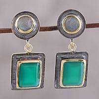 Gold accented onyx and labradorite dangle earrings, 'Graceful Gems' - Gold Accent Onyx and Labradorite Earrings from India
