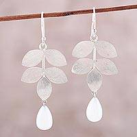 Moonstone dangle earrings, 'Misty Leaves' - Sterling Silver Leaves and Moonstone Dangle Earrings