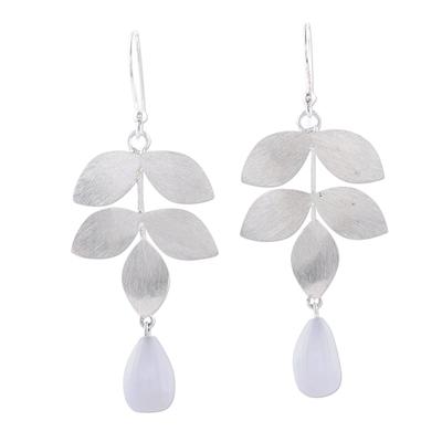 Moonstone dangle earrings, 'Misty Leaves' - Sterling Silver Leaves and Moonstone Dangle Earrings