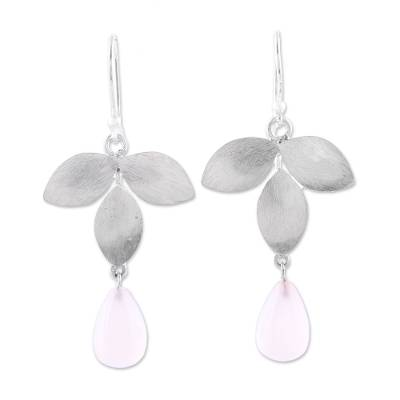 Sterling Silver and Pink Chalcedony Leaf Dangle Earrings
