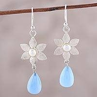 Chalcedony and cultured pearl dangle earrings, 'Mystical Flowers' - Blue Chalcedony and Cultured Pearl Flower Dangle Earrings