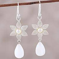 Moonstone and cultured pearl dangle earrings, 'Mystical Flowers' - Sterling Silver Moonstone and Cultured Pearl Flower Earrings
