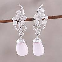 Rhodium plated chalcedony dangle earrings, 'Blissful Vine in Pink' - Rhodium Plated Pink Chalcedony Vine Dangle Earrings