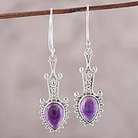 Amethyst dangle earrings, 'Lilac Arrows' - Sterling Silver and Amethyst Arrow Dangle Earrings