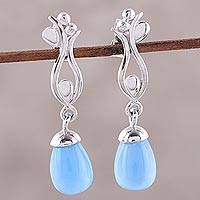 Rhodium plated chalcedony dangle earrings, 'Blue Tulip' - Rhodium Plated Dangle Earrings with Blue Chalcedony