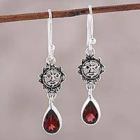 Garnet dangle earrings, 'Scarlet Sunset' - Sterling Silver and Faceted Garnet Sun Dangle Earrings